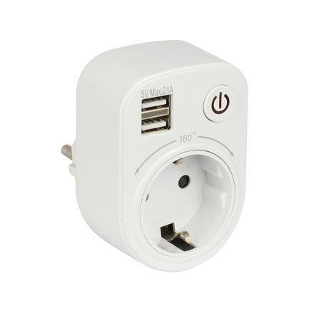 Блок розеточный EKF SB-01 (розетка 2P+E 16А 2 USB разъема 5В 2.1А) PROxima