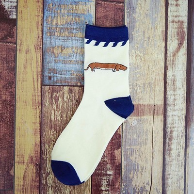 Blue and White socks with Brown Dachshund