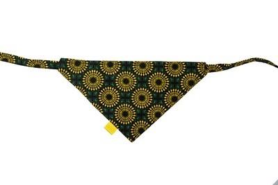 Shweshwe Print Bandana - Medium - Green & Yellow