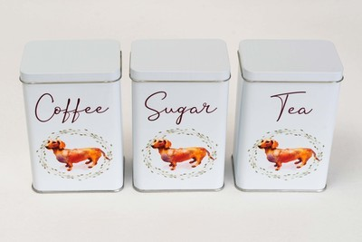 ​Tea, Coffee and Sugar Set - Brown Dog - English