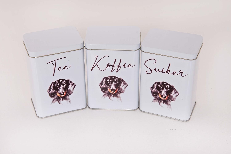 Tea, Coffee and Sugar Set - Black Dog - Afrikaans