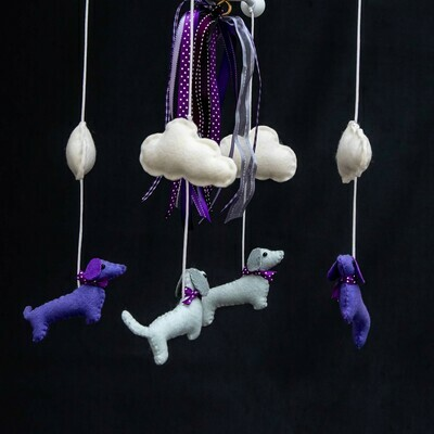 ​​Baby Mobile - Purple Dachshunds