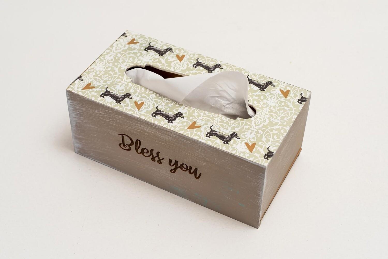 TISSUE HOLDER BOX - Grey/Teal pattern