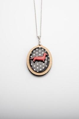 Red Dachshund on black polka dot background - Pendant & Chain