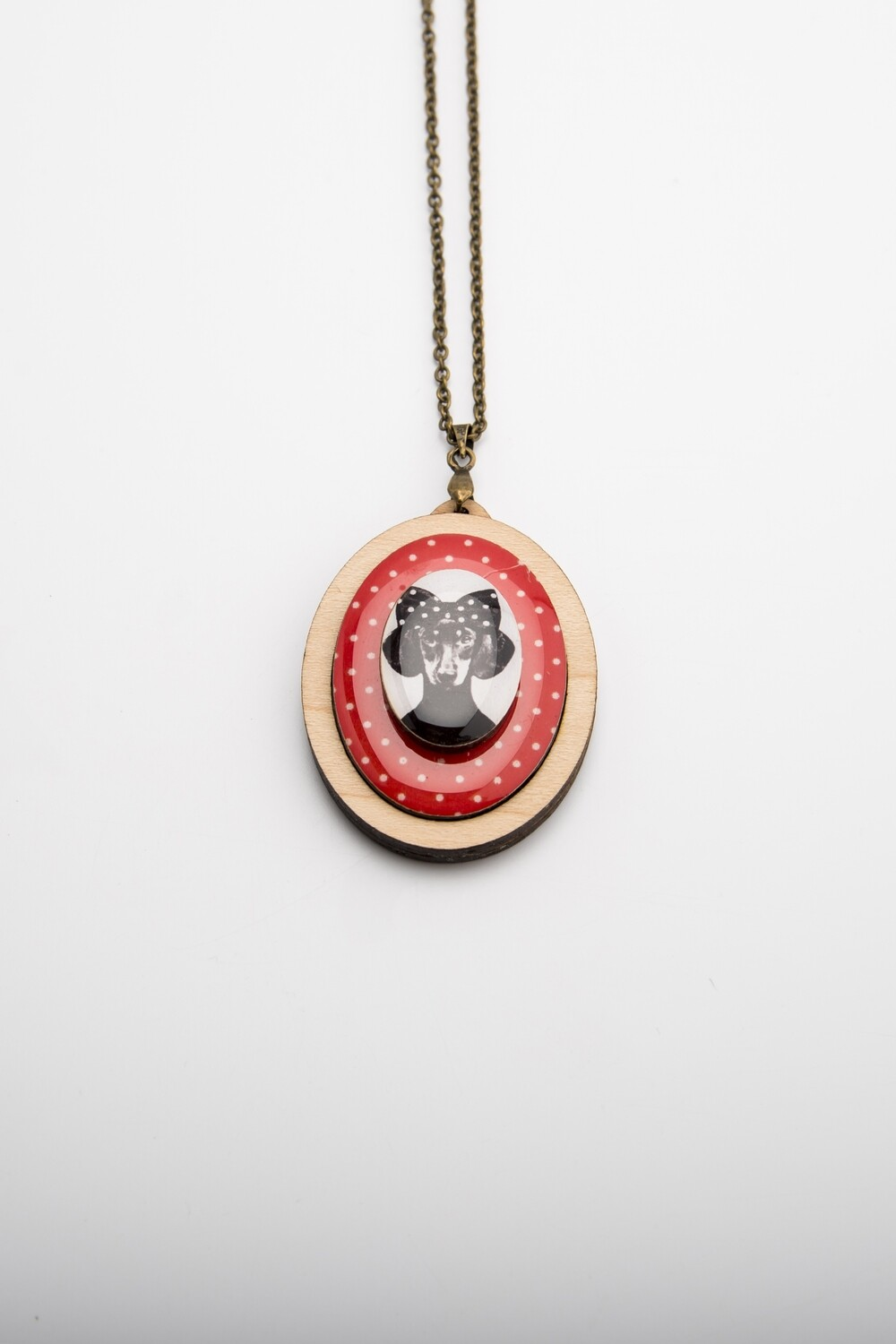 Girl Dachshund on red polka dot background - Pendant & Chain