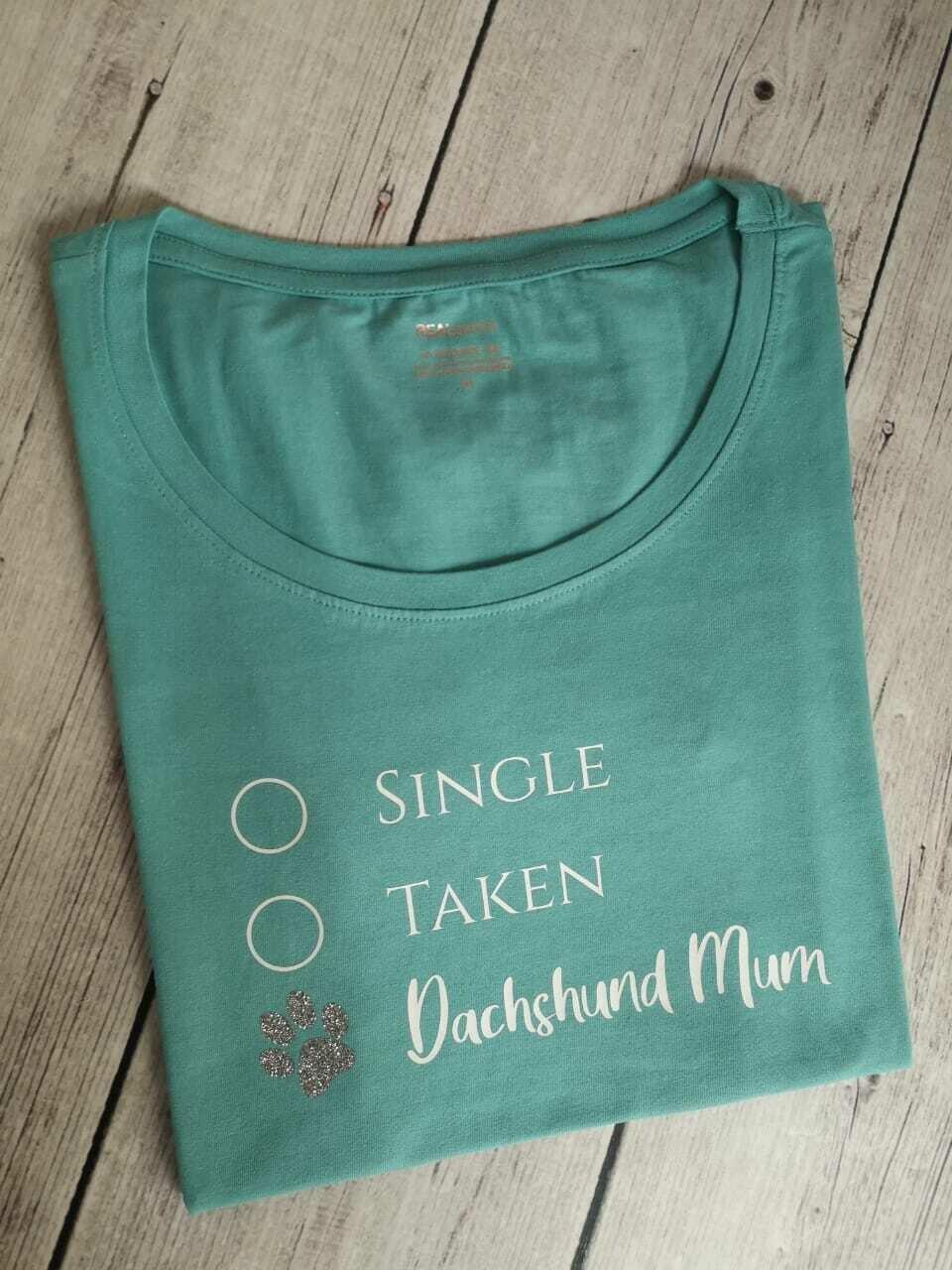 Dachshund Dating Range T-Shirt 1 - Blue/Green - Short Sleeve - LADIES CUT (Round-Neck)