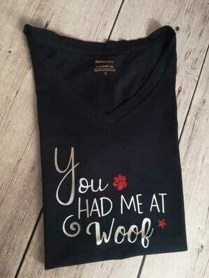 ​Dachshund Dating Range T-Shirt 2 - Black - Short Sleeve - LADIES CUT (Round-Neck)