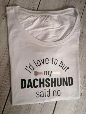 ​Dachshund Dating Range T-Shirt 3 - White - Short Sleeve - LADIES CUT (Round-Neck)