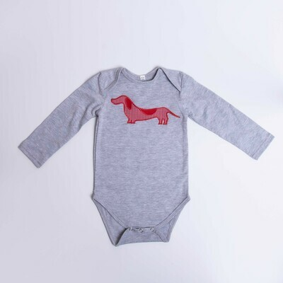 ​Dachshund Baby Vest – Long Sleeve – Checked Dog