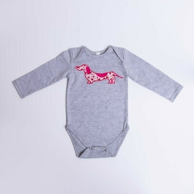 ​Dachshund Baby Vest – Long Sleeve – Floral Dog