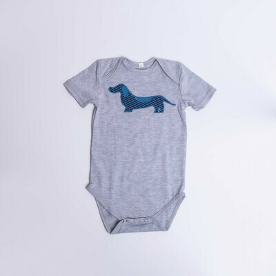 ​Dachshund Baby Vest – Short Sleeve – Checked Dog - Grey