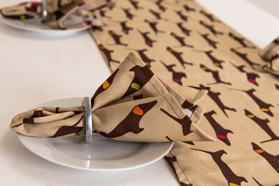 Fabric Napkins - Brown & Beige - COMING SOON