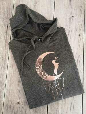 Dark Grey Hoodie - Rose Gold Print