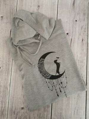 Light Grey Hoodie - Black Print