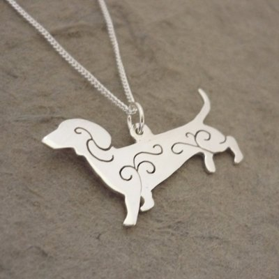 Sterling Silver Dachshund Swirls Pendant & Chain