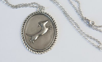 Pewter Pendant on chain - Jumping Dog