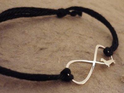 Sterling Silver Dachshund Infinity Bracelet - Black