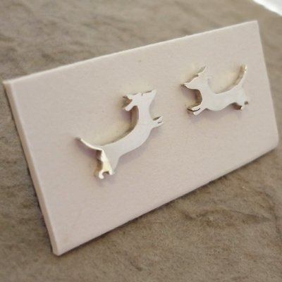 Sterling Silver Dachshund Earrings - Jumping