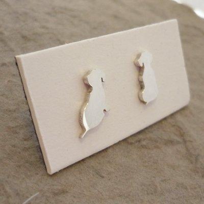 Sterling Silver Dachshund Earrings -  Side by Side