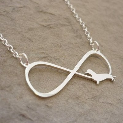 Sterling Silver Dachshund Infinity Pendant and Chain