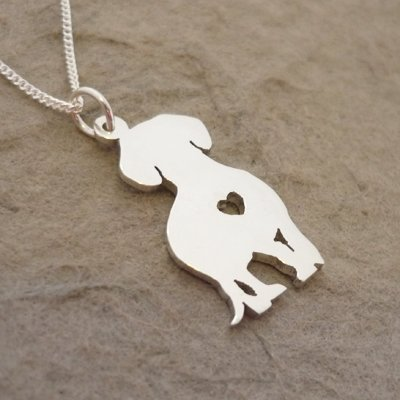 Sterling Silver Dachshund Pendant  & Chain - Heart  (front view)
