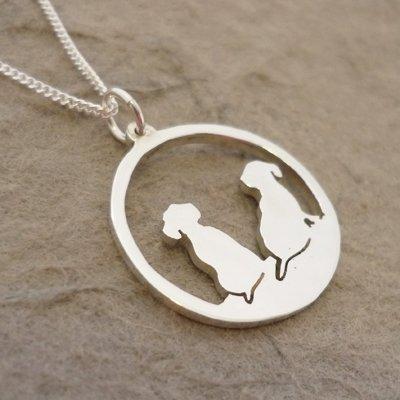 Sterling Silver Dachshund Silhouette Circle Pendant & Chain