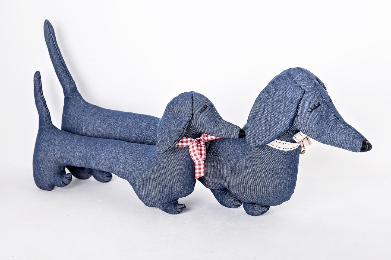 Mitzi - Denim Dachshund Shaped Cushion