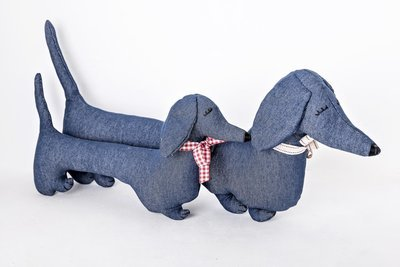 Mitzi - Denim Dachshund Shaped Cushion