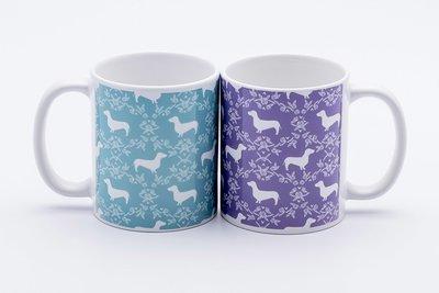 Pretty Pattern Dachshund Mugs - Teal, Purple or Black