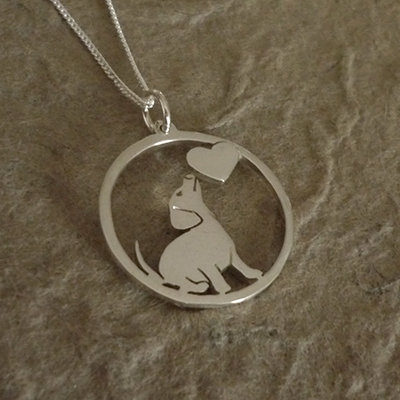 ​Sterling Silver Dachshund & Heart Silhouette Circle Pendant & Chain