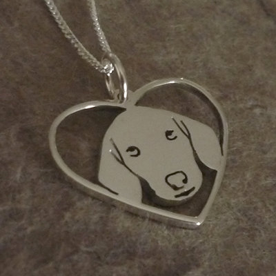 Sterling Silver Dachshund Face Silhouette in Heart Pendant & Chain