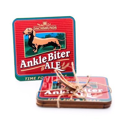 ​Set of Dachshund Coasters Design 4 - Ankle Biter Ale