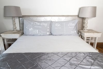 Long Dog Pillow Slip Sets - Grey with White Print