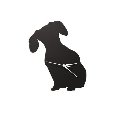 Dachshund Silhouette Clock - Front View 2 - No Heart