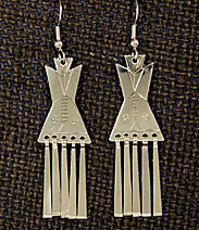 """Earrings:  Tipis with Fringes,  1 3/4"""" ERTP-F1_31"""