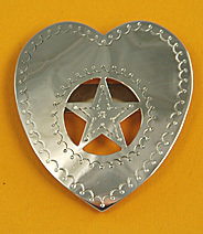 """Tie Slide:  Heart with Star Cut-Out 2 1/2"""" TS-HR1-25G"""