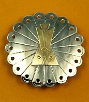 Tie Slide:  Decorated Disc with Brass Tipi Overlay 2 1/2