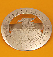 """Tie Slide:  Eagle In A Circle, Style 2,  2 1/2"""" diameter TS-EG2 -F"""