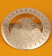 Tie Slide:  Eagle In A Circle, Style 2,  2 1/2
