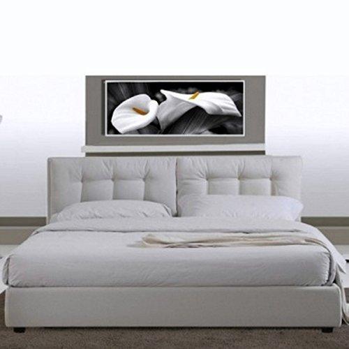 Letto Matrimoniale Con Rete In Doghe.Letto Matrimoniale 220x174 In Ecopelle Bianco Moderno A Due Piazze Con Rete A Doghe