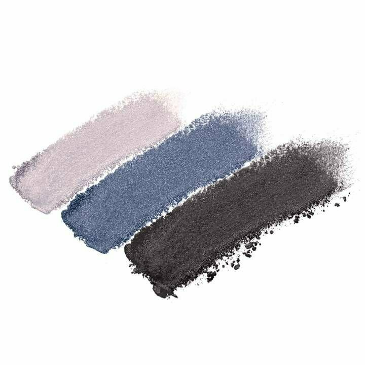 Blue Hour - shimmery light grey, shimmery deep blue, matte charcoal grey