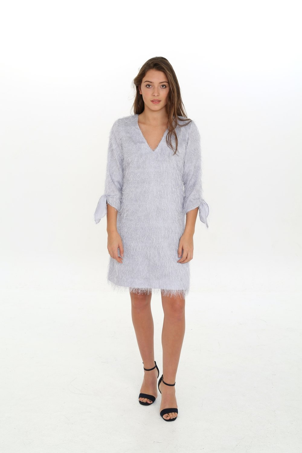 NORA NOH Silver Fur Dress