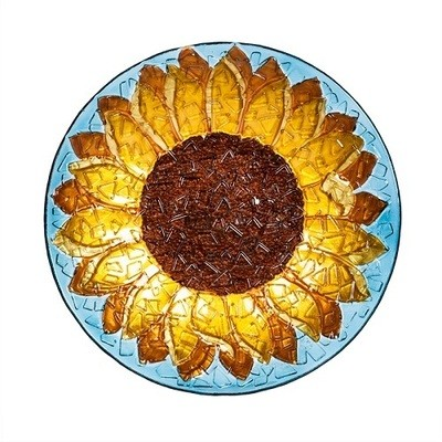 Birdbath Bowl - Crushed Glass Sunflower