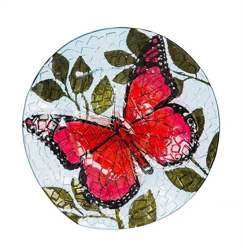 Birdbath Bowl - Crushed Glass Butterfly