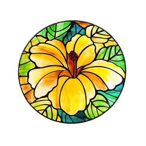 Birdbath Bowl - Art Nouveau Hibiscus