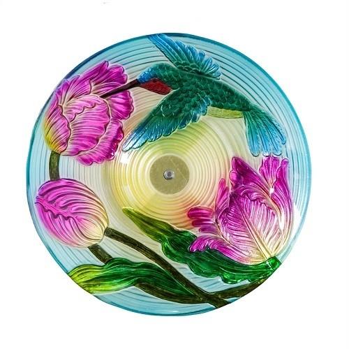 Birdbath Bowl - Solar Hummingbird