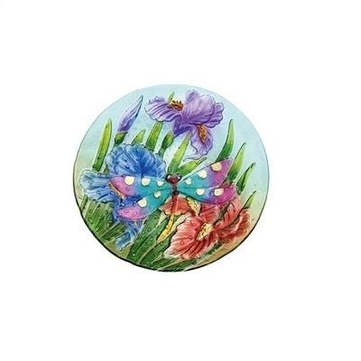Birdbath Bowl - Crushed Glass Dragonfly Garden
