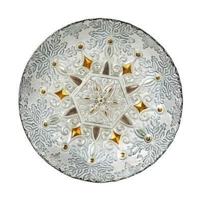 Birdbath Bowl - Metallic Snowflake