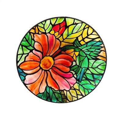 Birdbath Bowl - Art Nouveau Hummingbird