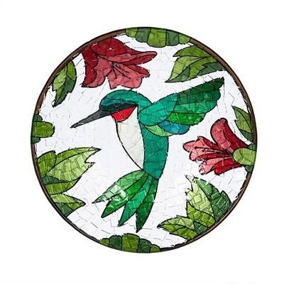 Birdbath Bowl - Crushed Glass Hummingbird